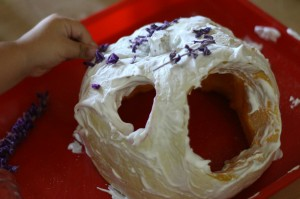 Adding natural materials to Fairy Pumpkin house