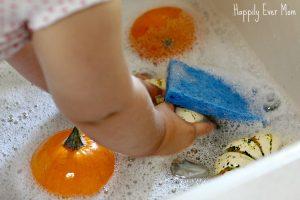 Washing pumpkins Happilyevermom