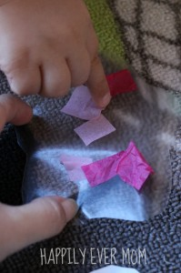 Adding tissue squares to contact paper from Happilyevermom