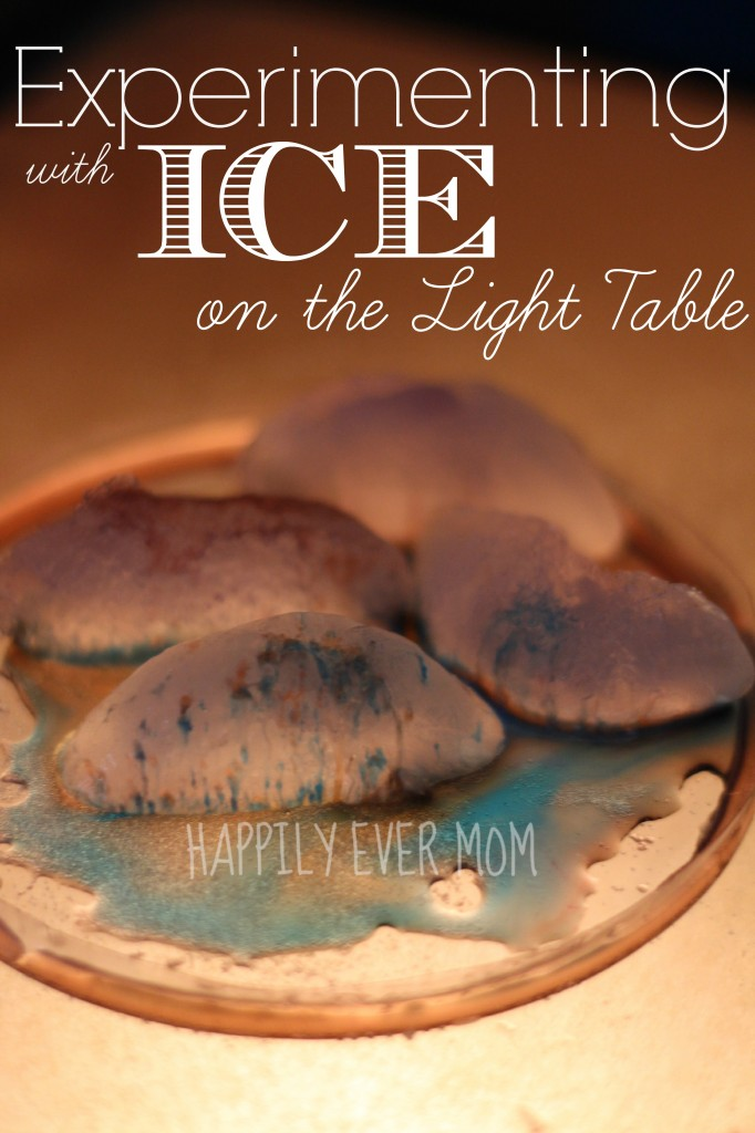 Experimenting with Ice on the light table from Happilyevermom