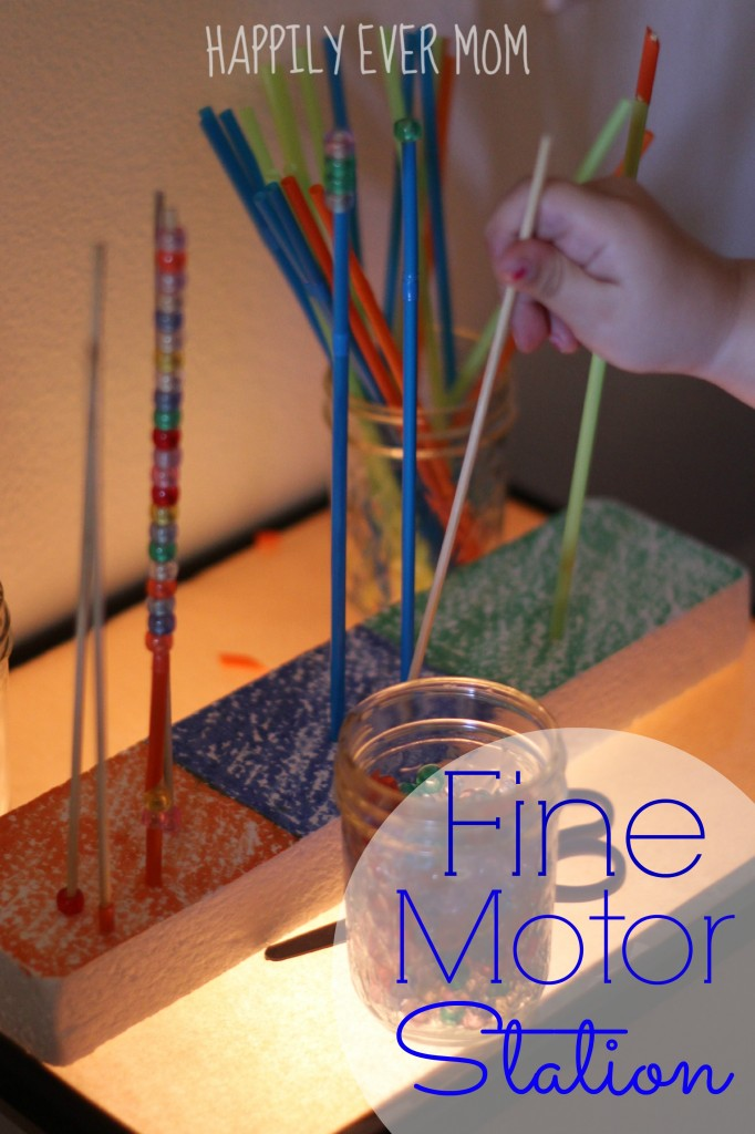 Fine Motor Station on the light table from Happilyevermom