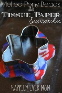 Melted Pony Beads and Tissue Paper Suncatcher from Happilyevermom