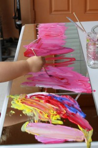 Painting with Mirrors working on a volcano from Happilyevermom