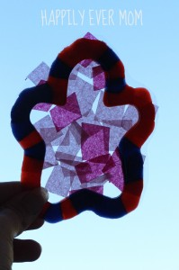 Pony Bead and Tissue Paper Suncatcher from Happilyevermom