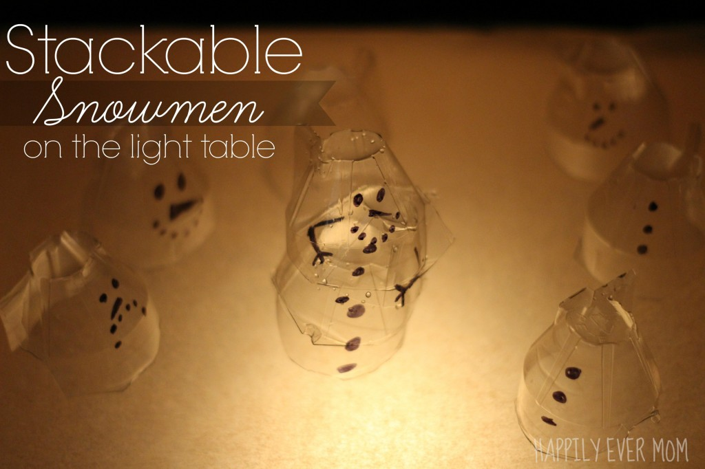Stackable Egg Carton Snowmen on the light table from Happilyevermom