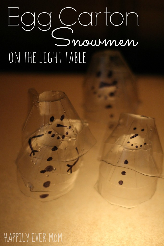 Stackable Egg Carton Snowmen play on the light table from Happilyevermom