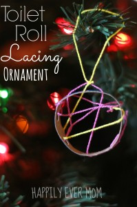Toilet Roll Lacing Ornament from Happilyevermom