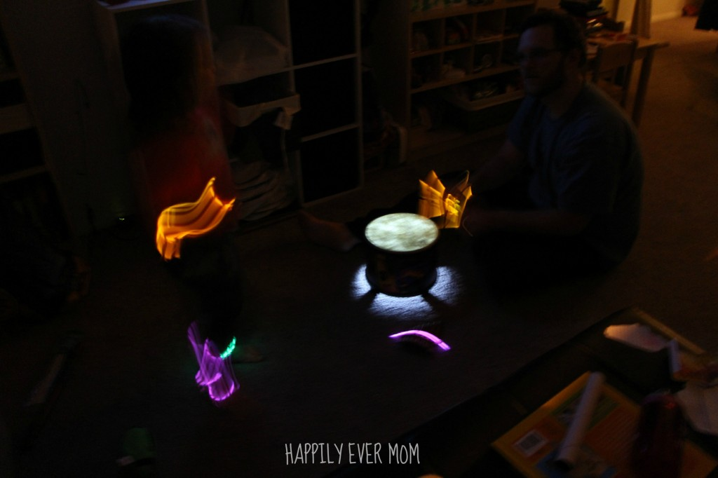 Glow in the Dark dancing and drumming