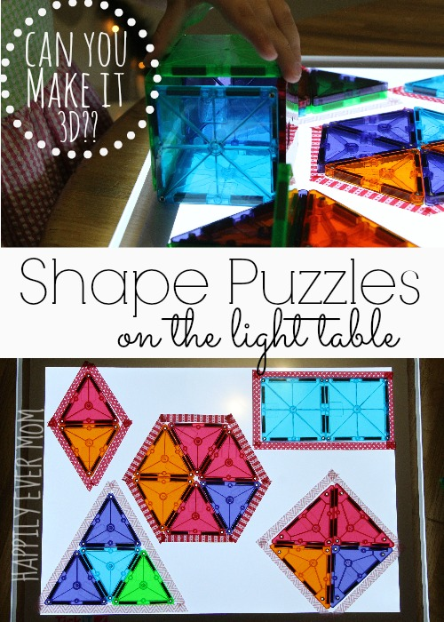 Shape Puzzles on the light table with magnatiles from Happilyevermom