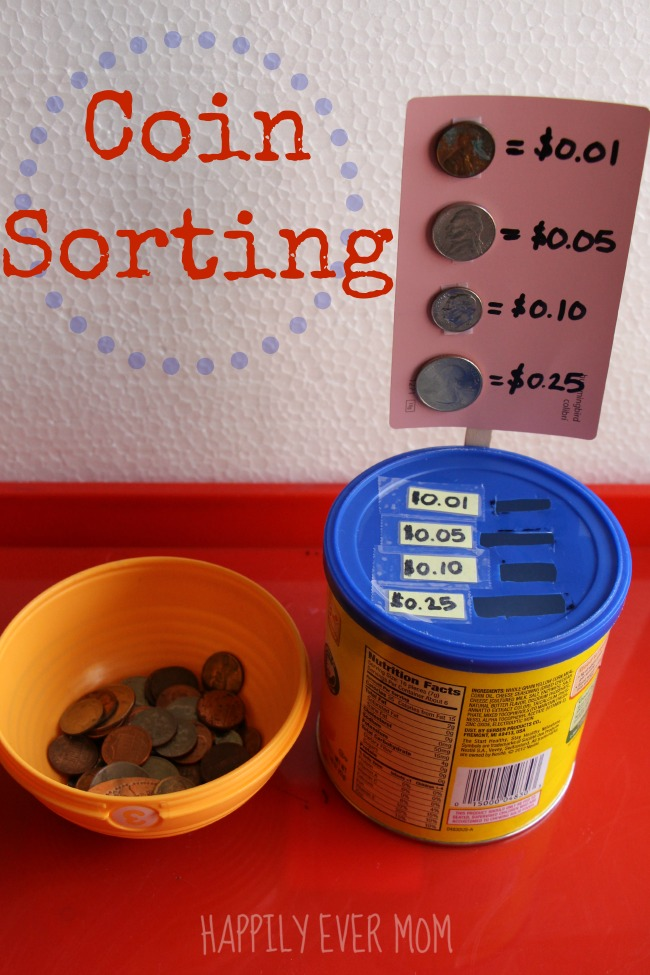 Make your own coin sorting game from an old container! So creative!!