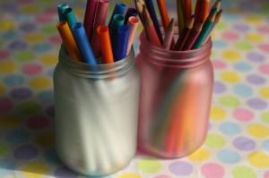 coloured mason jars