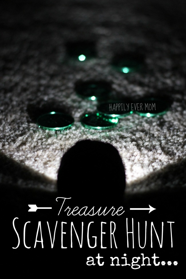 Treasure scavenger hunt at night for kids