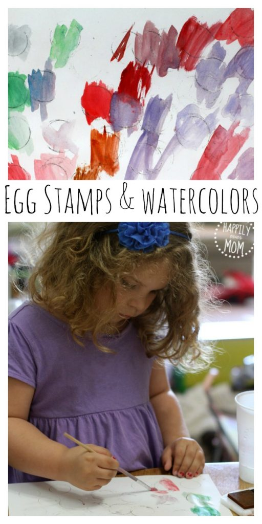 Plastic egg art with watercolors