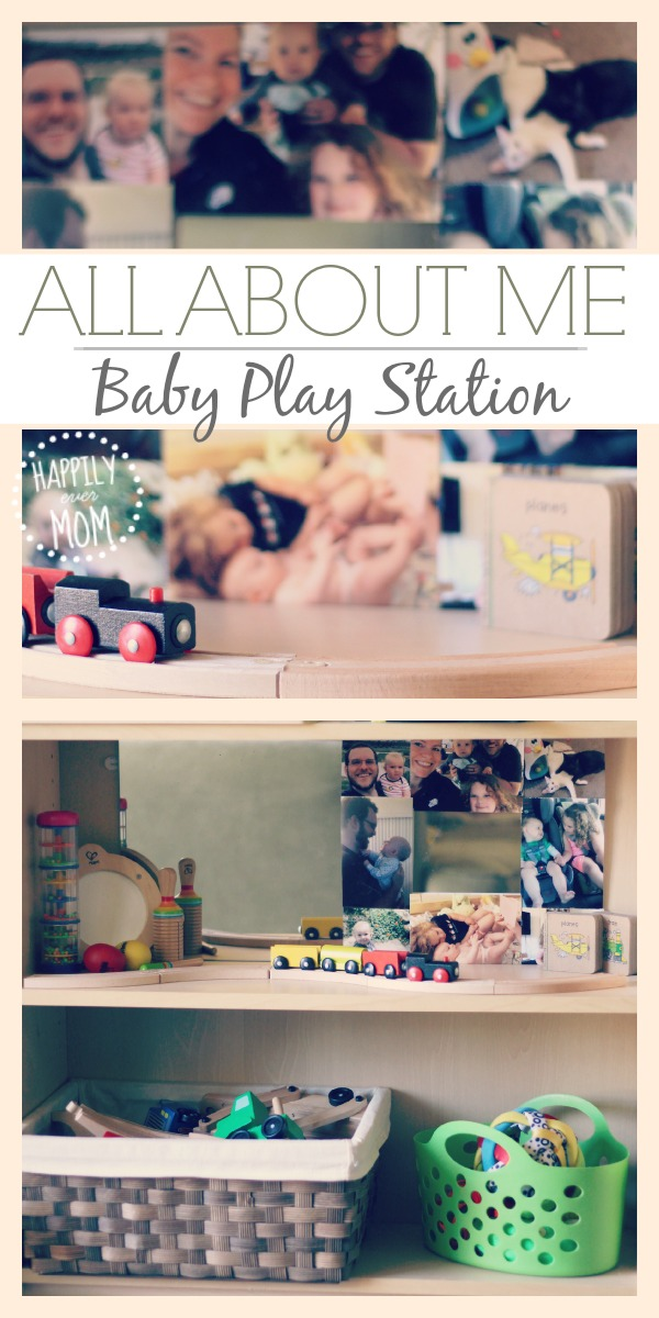 Make a quick and easy baby play station with baby's favorite toys ~ such a great idea if you live in a small space with a little one!  Gotta pin this for later!!