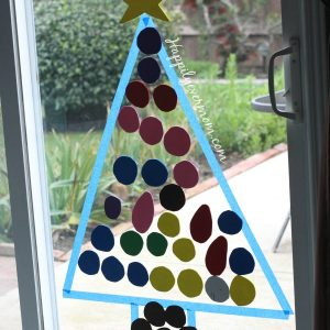 Easiest Ever Christmas Activity for Kids: Build a Christmas Tree in the Window!