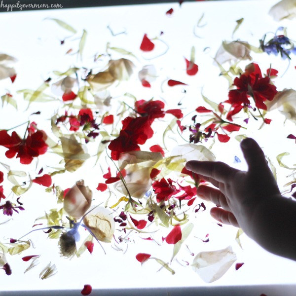 Gorgeous light table activities for kids all with flowers!
