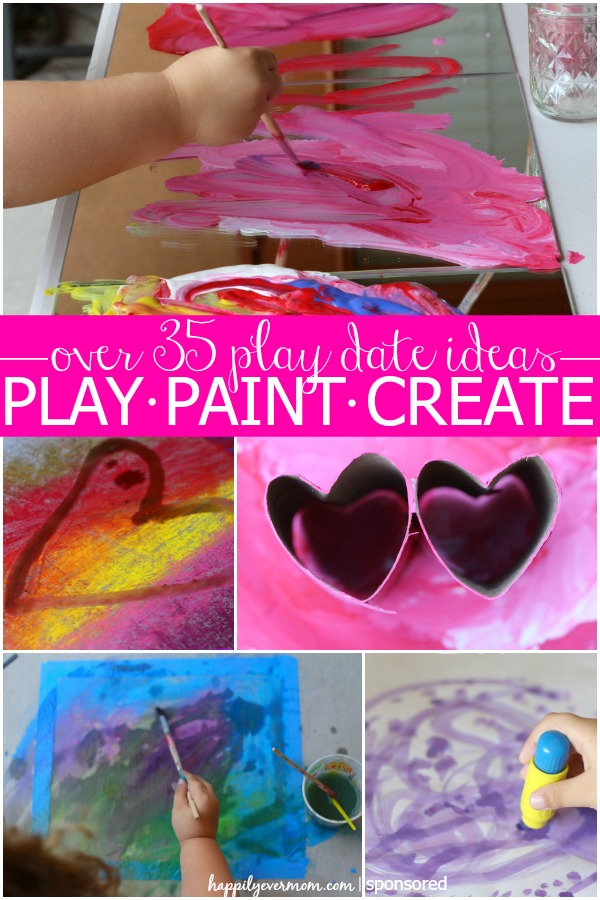 Love these playdate ideas with chalk, paint, and crafts.  Great activities for kids that are open-ended and lots of fun! #ad #keepplaying