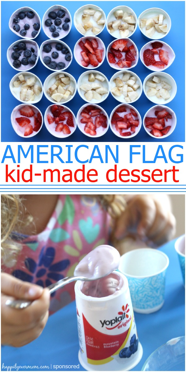 Super simple kid made dessert for the 4th of July. Could make so many different designs with this! @Yoplait Yogurt