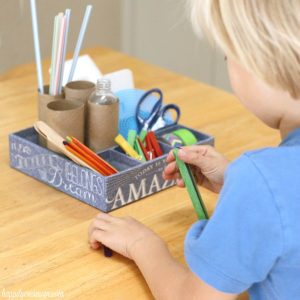 Kids Upcycled Mini Maker Kit: Organize loose parts for kids' projects.