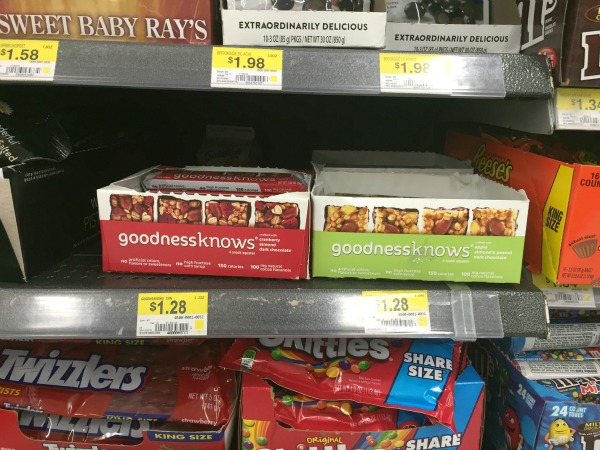 Find Goodness Knows Bars at Walmart