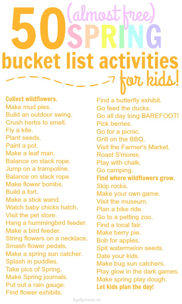 A FUN Spring Time Bucket List for Kids that are all practically free!!