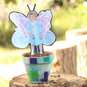 {Kid's Crafts} Butterfly Handprint Garden Pot