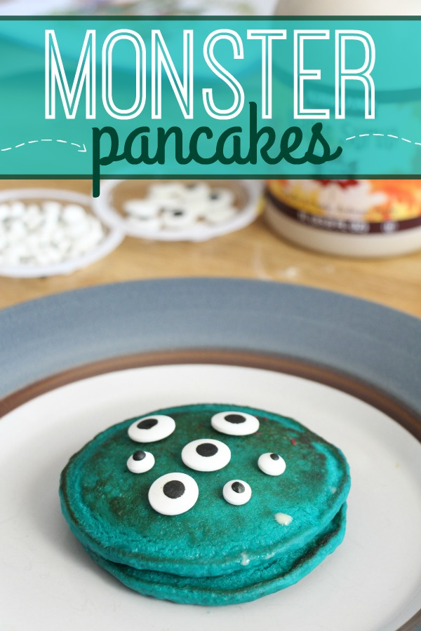 Make Halloween or a monster party extra special with these simple monster pancakes. Kids love eating the candy eyes and you'll love how easy these are to make for a party or for a holiday like Halloween.