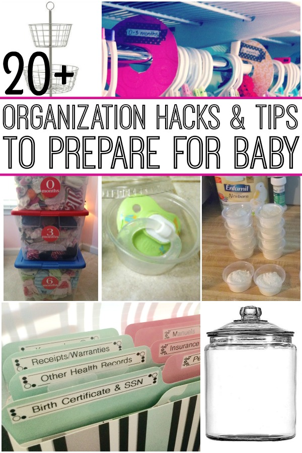Get everything ready for baby with these organization hacks. If you feel like there's stuff everywhere, you will thank yourself for looking at these hacks for all things baby!