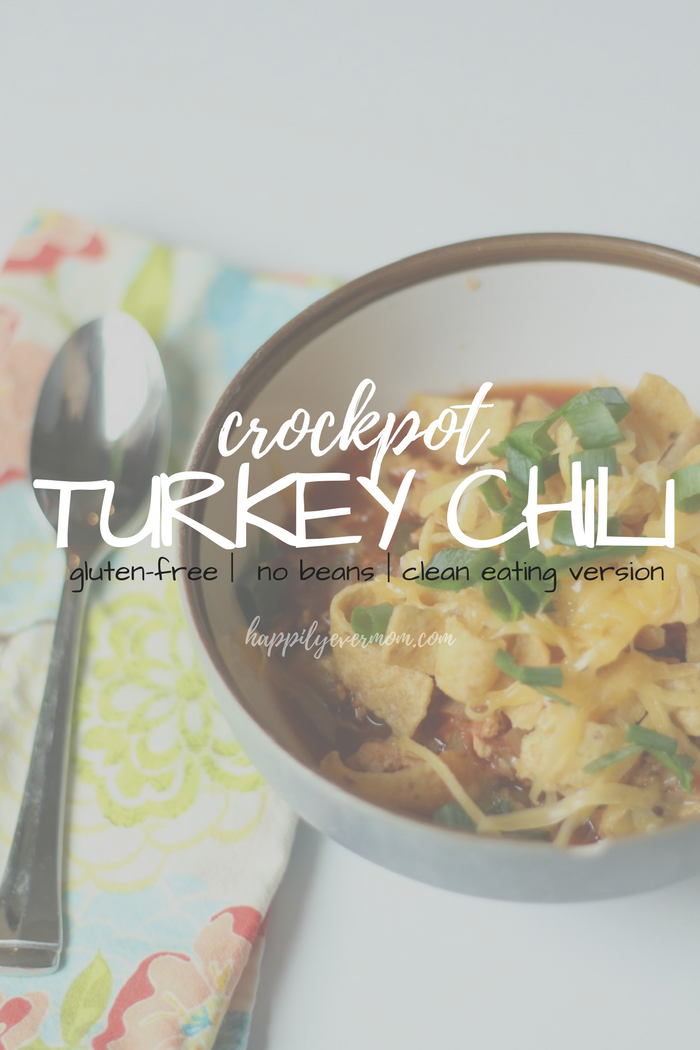 crazy good crockpot turkey chili. Gluten-free even with the Fritos on top. Quick family meal for busy Moms. Packed with veggies too which is just a perk! | family meals, dinner, crockpot meal, clean eating, gluten-free soup, no bean chili, freezer meal friendly, delicious dinner that takes minutes to make