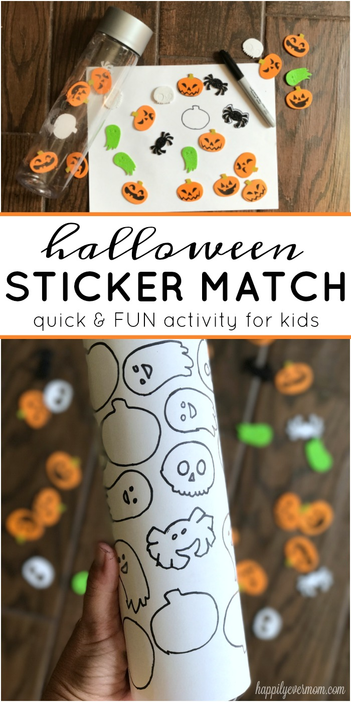 Fun Halloween Activity for toddlers and preschoolers. Just need a few Halloween stickers and an empty bottle - great activity for when your traveling or if you need a few minutes to cook dinner! Love how easy (and inexpensive!) it is to do this activity with my kids.