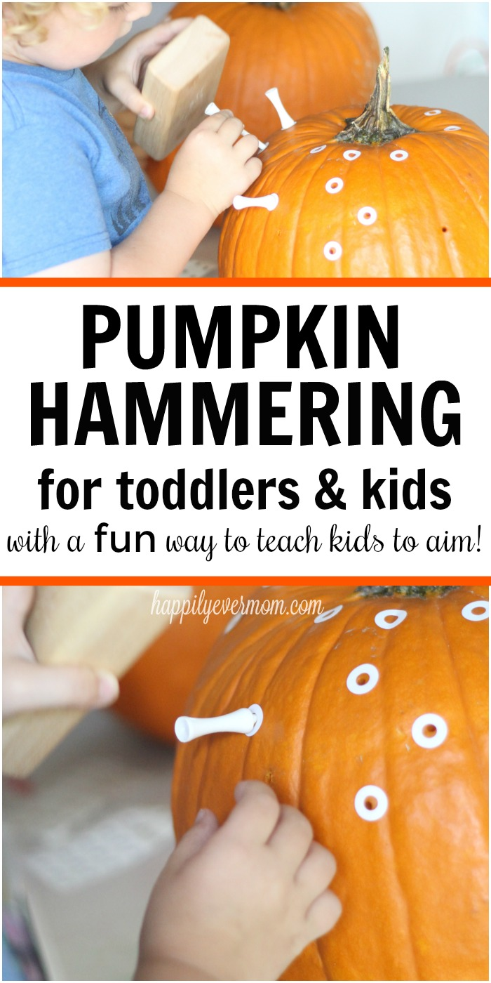 How did I not think of this?! What a great twist on the classic hammering golf tees activity for kids. How to set up hammering pumpkins with toddlers and preschoolers with a fun new twist. See the video to see this activity in action. Super fun and engaging for kids!
