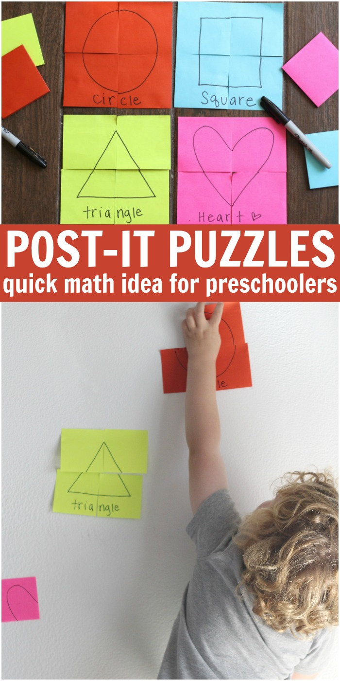 Post It Note Puzzles Early Learning Activity For Preschoolers