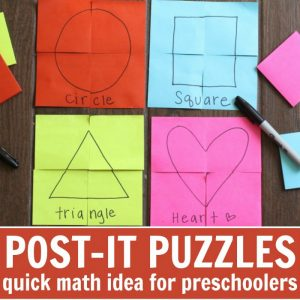 Post-it Note Puzzles: Early Learning Activity for Preschoolers