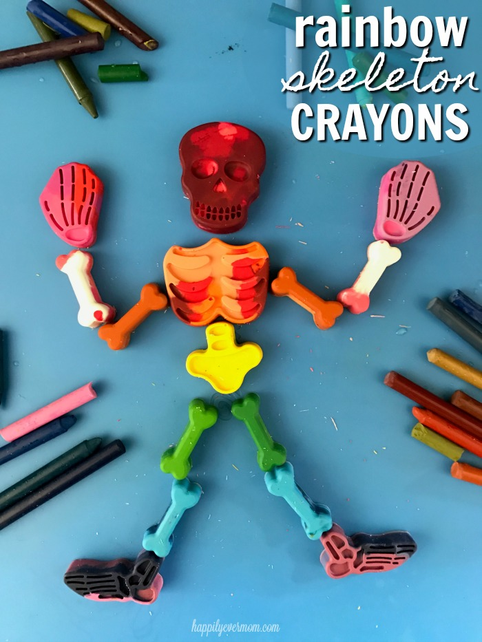 "Upcyled old crayons into these awesome rainbow skeleton crayons. Such a fun Halloween activity for kids. Put this out on your porch at Halloween instead of a bowl of candy! Free printable says, ""I've got this feeling inside my bones."" Super cute. :)"
