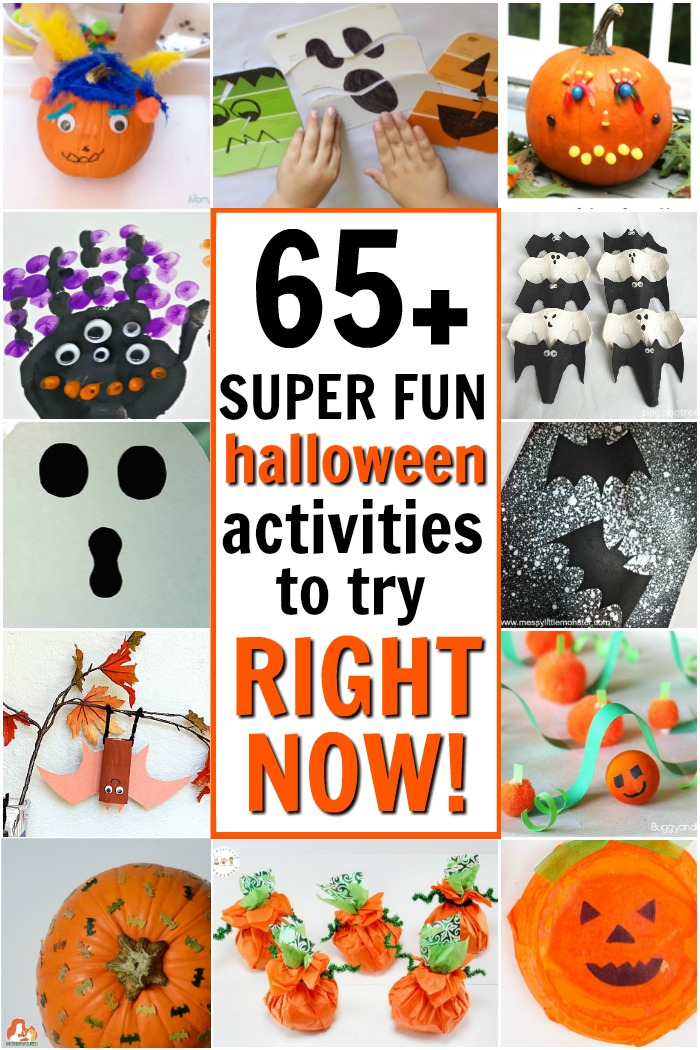 Quick and fun Halloween kids activities to try with little ones. From Halloween games to pumpkin, ghost, and bat crafts, this post has tons of awesome ideas.