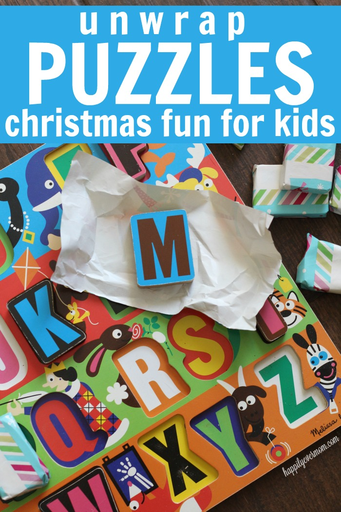 Fun christmas game for toddlers. Just wrapping paper and a puzzle - simple, but genius.