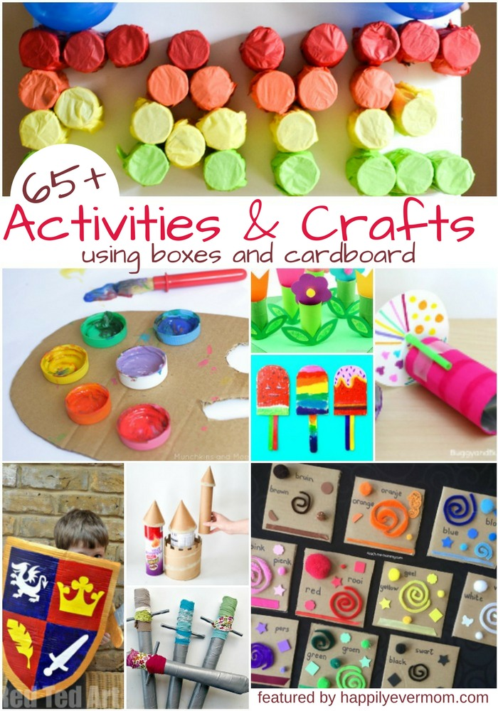 Awesome ideas to play and crafts with a cardboard box. Kids love cardboard boxes and these activities will keep kids playing and painting for hours. There are cardboard castles, swords, and helmets in here. There's toddler and baby cardboard box activities. And, tons of ways to craft with cardboard - perfect for when your stuck indoors or right after Christmas when you have boxes EVERYWHERE! #cardboardbox #crafts #kidsactivities