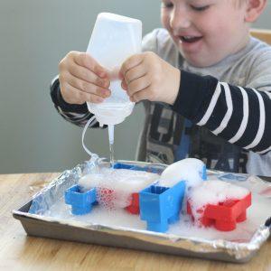 Easy Toddler Science: Mega Bloks with Baking Soda and Vinegar