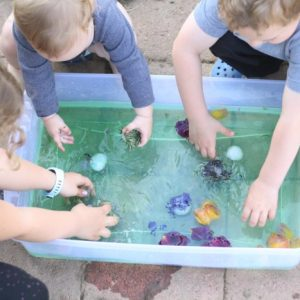 Nature Soup: A Mess Free Sensory Bin for Toddlers and Kids