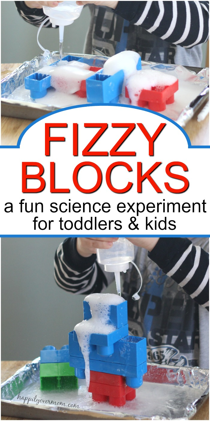 Every toddler will love these fizzy blocks as an easy toddler science experiment! It's such a fun science experiment that won't take a ton of time to set up. But, you're kids will love to watch the reactions in their blocks over and over. See the two ways we did this simple experiment so that the activity lasts longer. #toddler #science #preschool #learning #experiment #kids #activities #simple #easy #fun