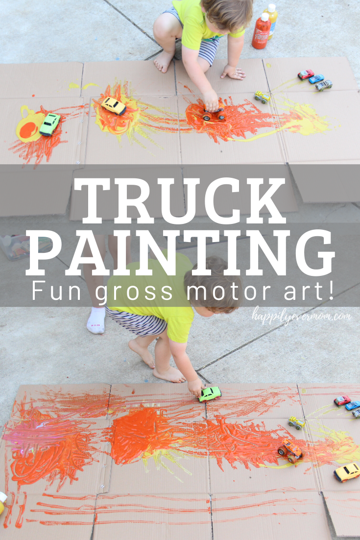 Fun painting activity for toddlers using a box, paint, and cars! Love the tips in this post.