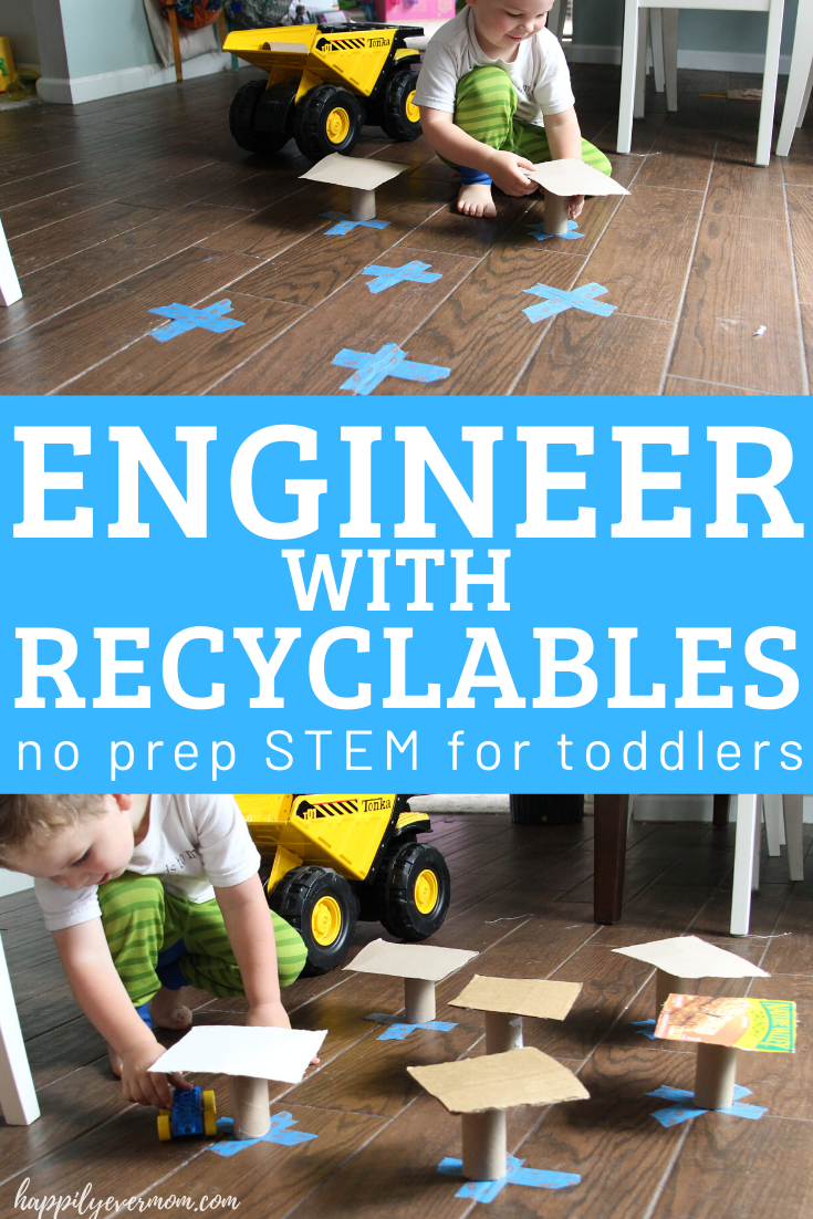 "What a fun activity you can prep in seconds for your toddler! It just took a few minutes to grab some recyclables and my toddler went to ""work"" building his own town. #toddler #toddleractivities #stemlearning"