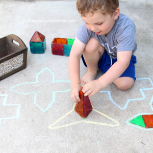 Chalk Puzzle: A Fun Outdoor Activity with Blocks